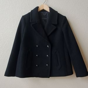 BR Black double breasted wool coat flare fit PS